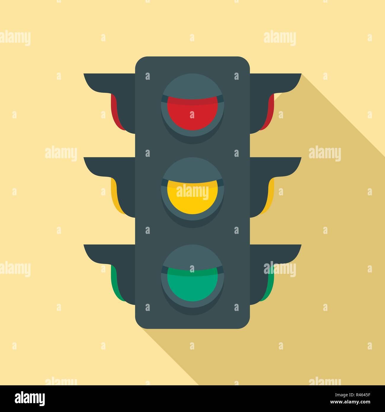Crosswalk semaphore icon. Flat illustration of crosswalk semaphore vector icon for web design Stock Vector
