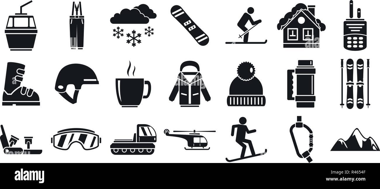 Mountain ski resort icon set  Simple set of mountain ski