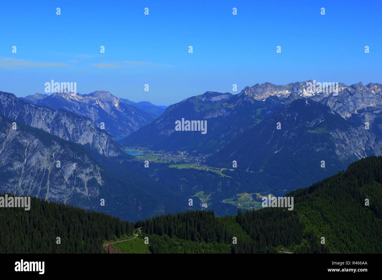Airshot from Hochfügen in the Zillertal valley in Tirol while paragliding Stock Photo