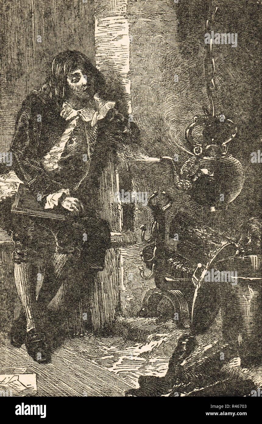 James Watt watching a boiling Tea kettle - Stock Image