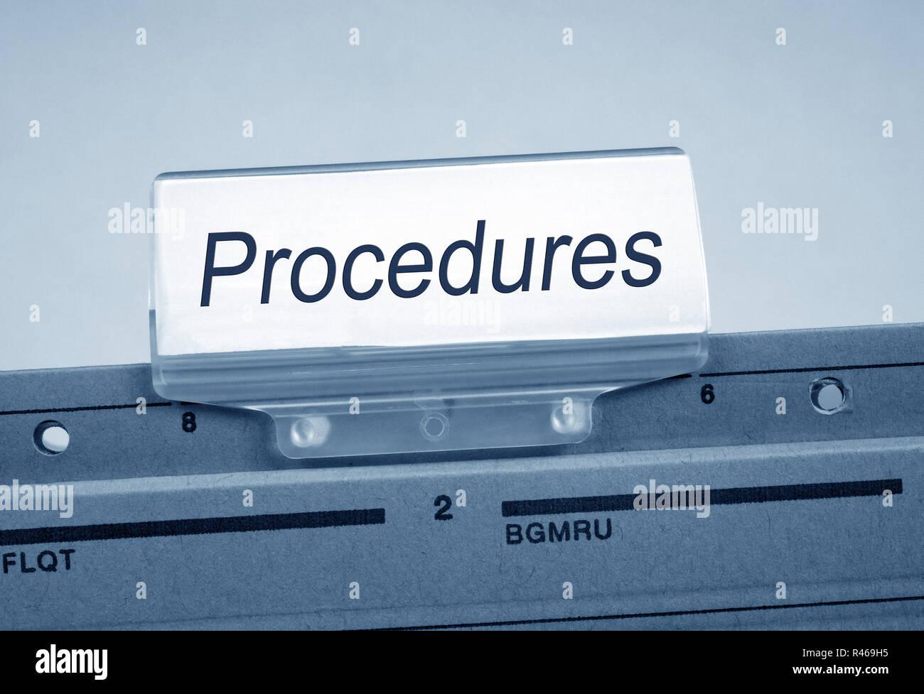Procedures Folder Register Index - Stock Image