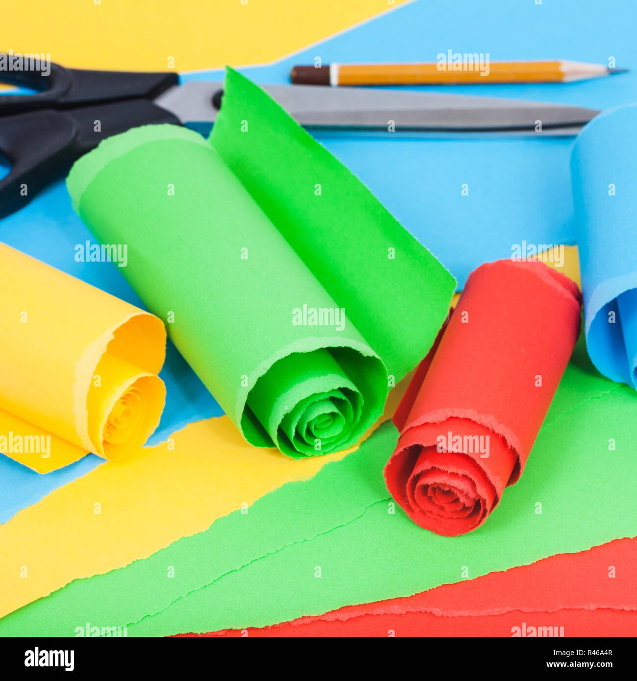 rolled color paper on sheets of plain paper Stock Photo
