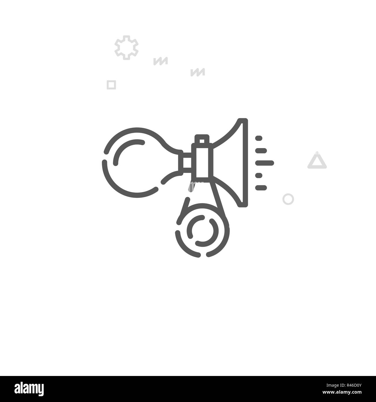 Bike or Bicycle Horn Line Icon. Bicycle Accessory Symbol, Pictogram, Sign. Light Abstract Geometric Background. Editable Stroke. Adjust Line Weight. D - Stock Image