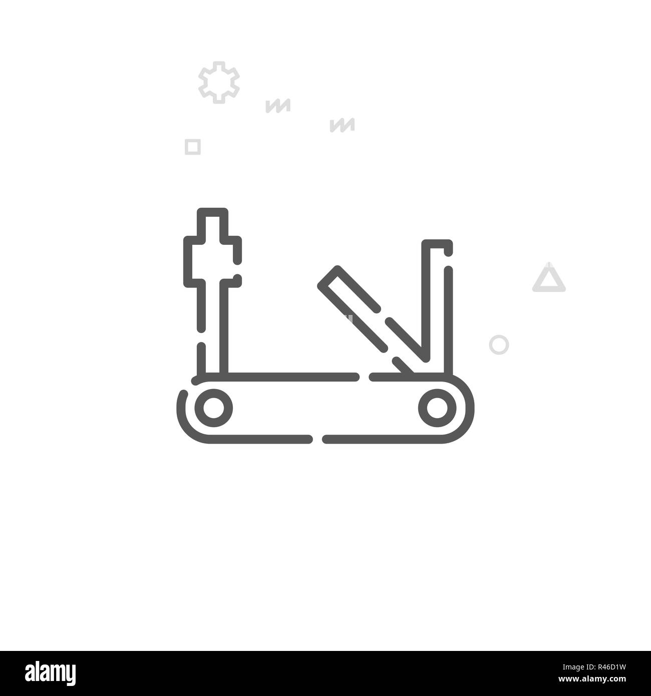 Bike or Bicyle Tools Line Icon. Bicycle Multitool Symbol, Pictogram, Sign. Light Abstract Geometric Background. Editable Stroke. Adjust Line Weight. D - Stock Image