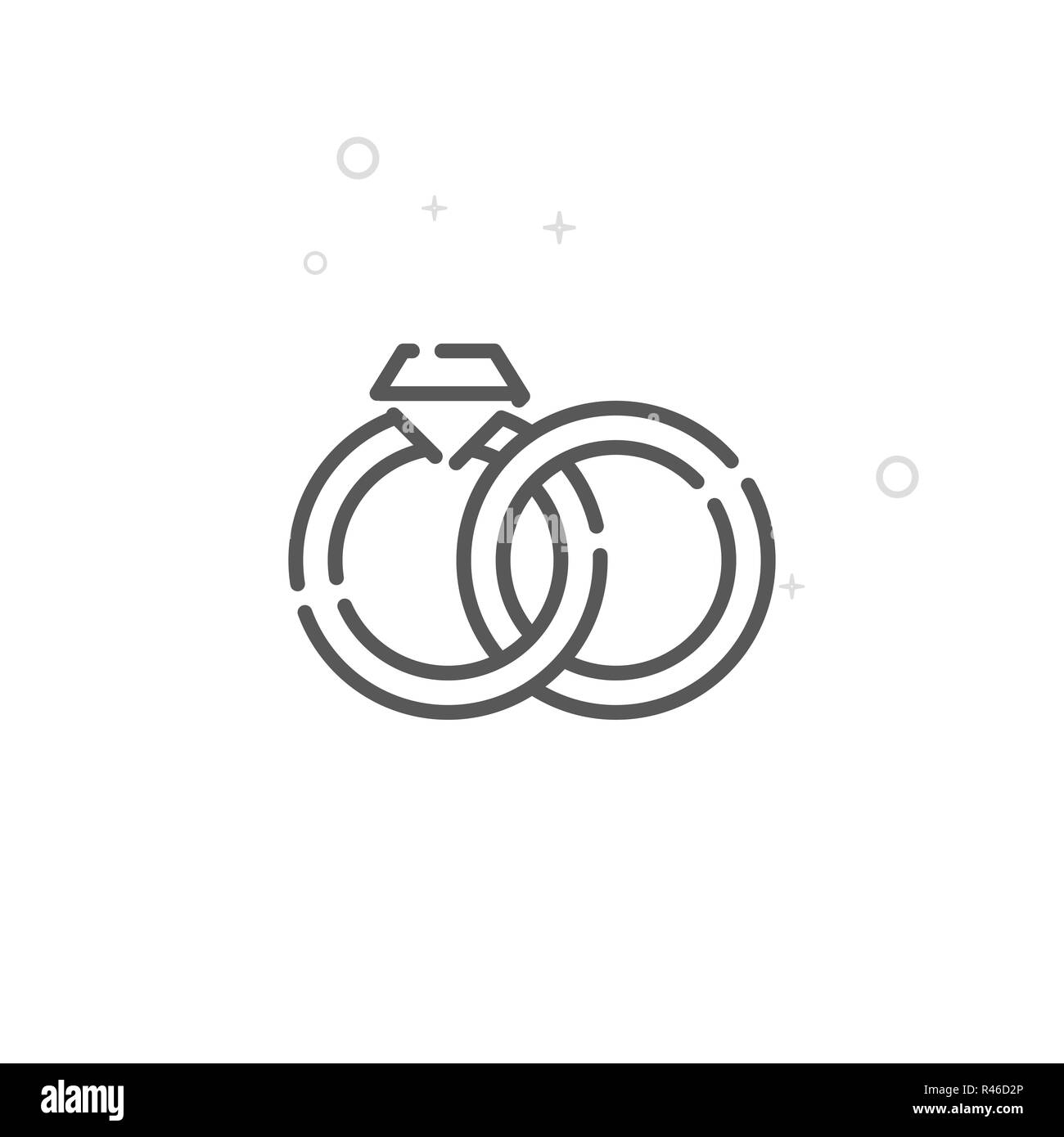 Engagement Rings Line Icon. Wedding Symbol, Pictogram, Sign. Light Abstract Geometric Background. Editable Stroke. Adjust Line Weight. Design with Pix - Stock Image