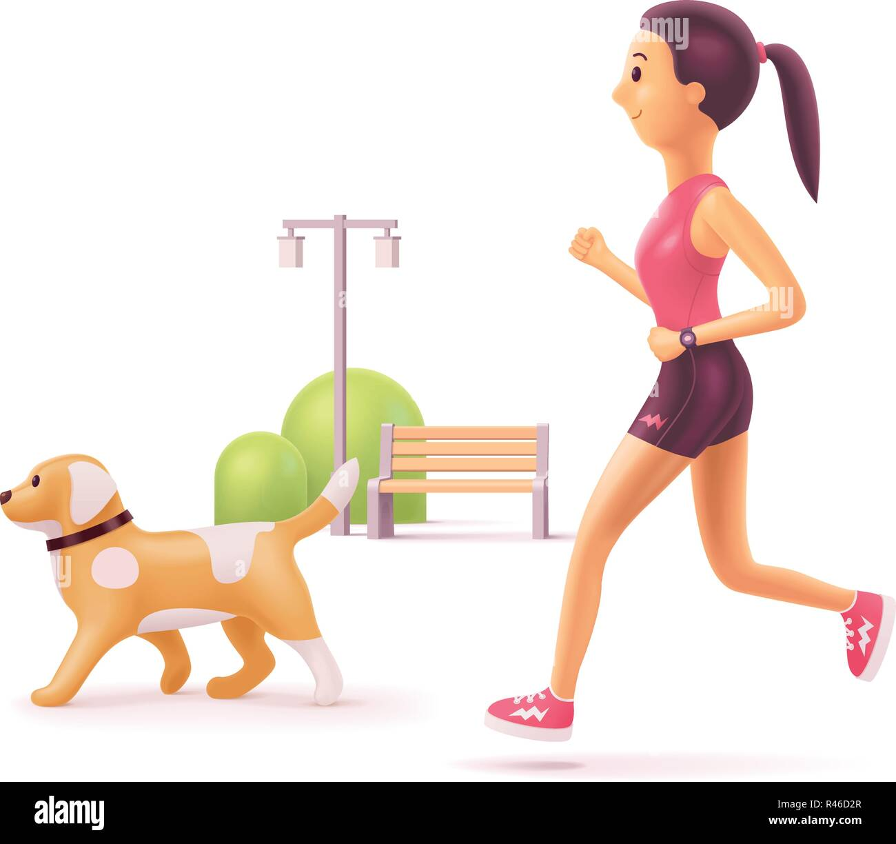 Vector woman jogging in park with dog - Stock Vector