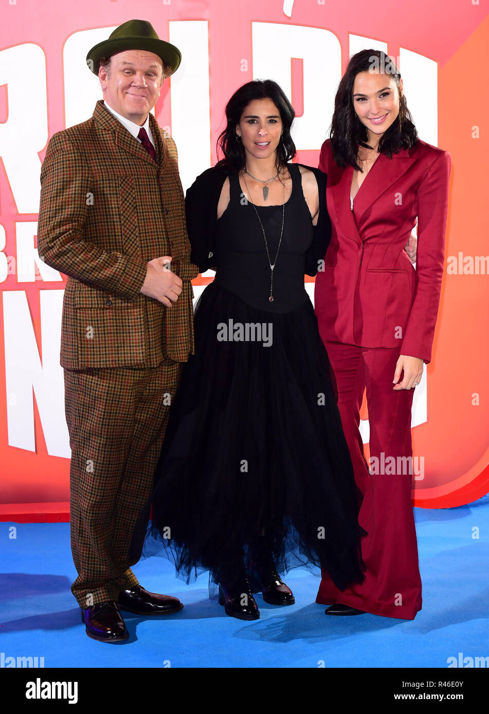 Left To Right John C Reilly Sarah Silverman And Gal Gardot Attending The Ralph Breaks The Internet European Premiere Held At Curzon Mayfair London Stock Photo Alamy