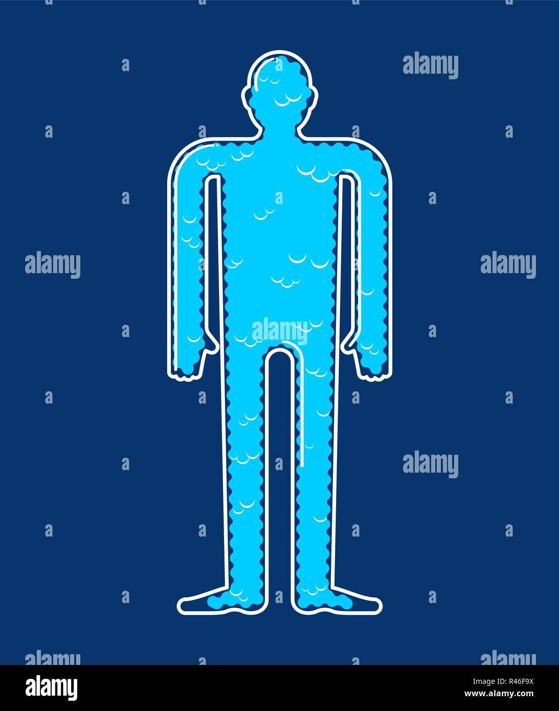 Soul inside body. Cloud body essence. Vector illustration - Stock Vector