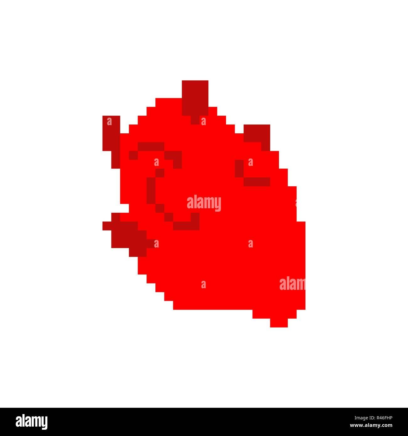 Heart Anatomy Pixel Art Human Internal Organs 8 Bit Pixelate 16bit