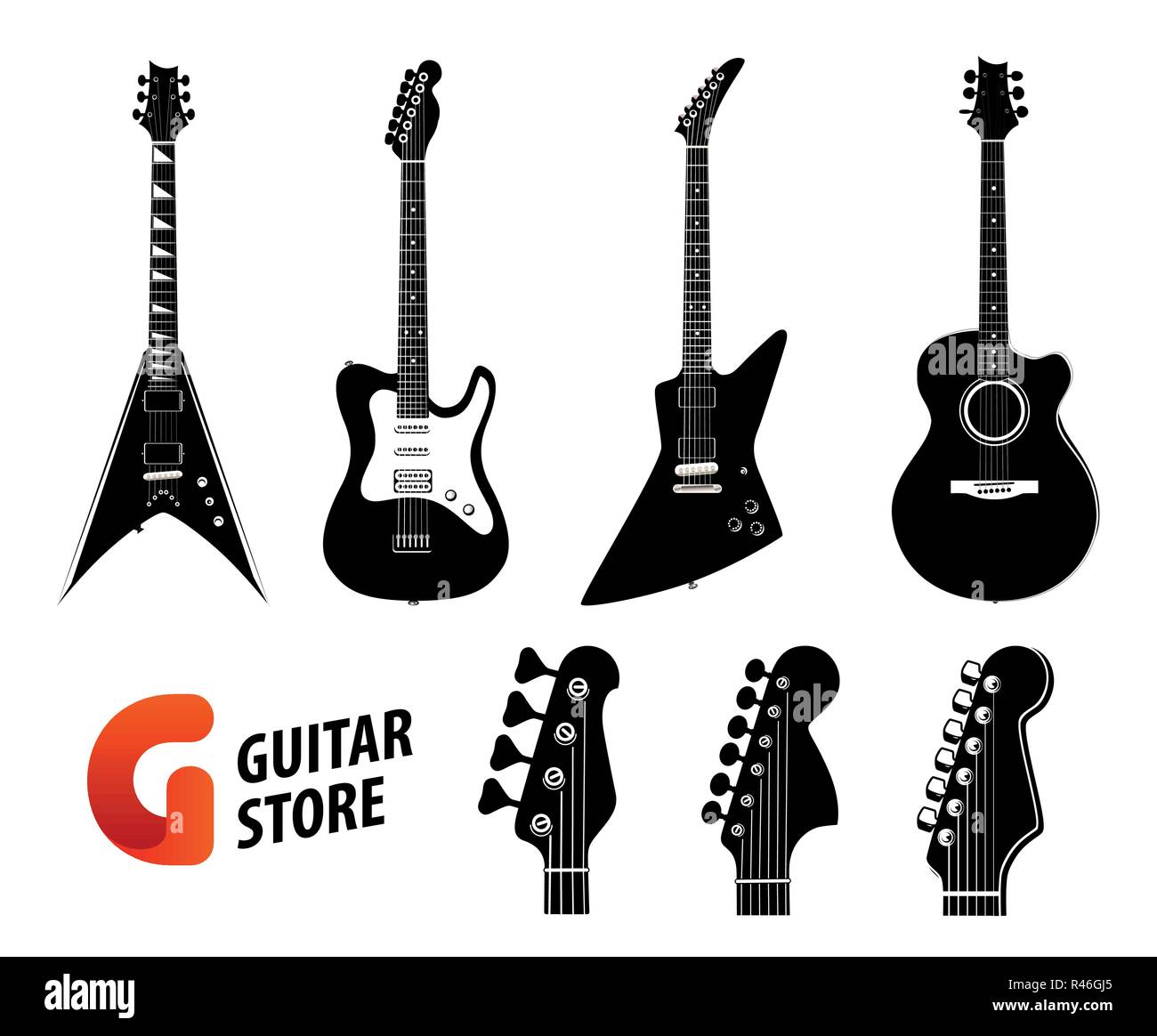 Set Of Guitar Silhouettes Black Color Isolated On White Electric