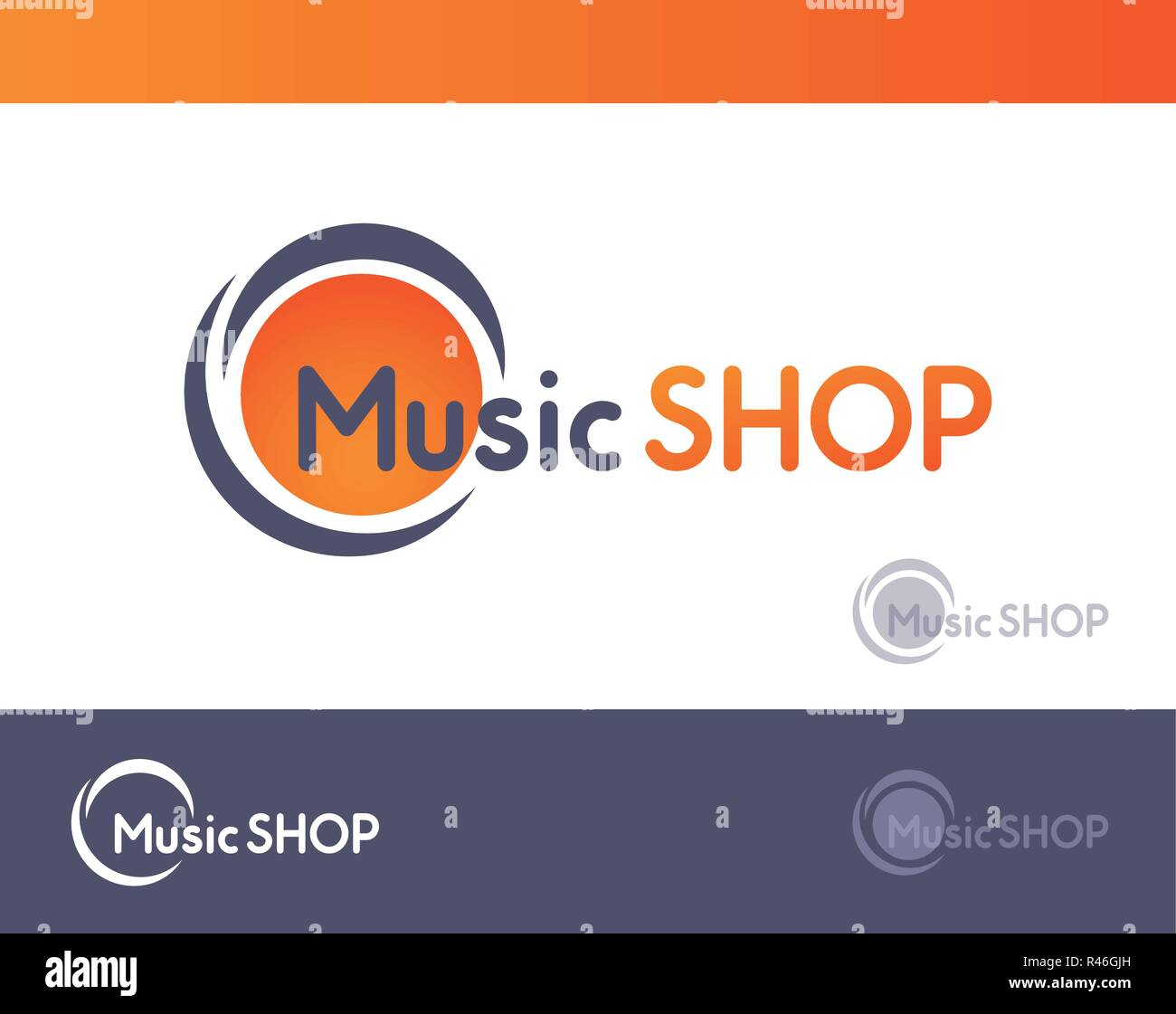 Logo for Music SHOP isolated on white and dark grey blackground