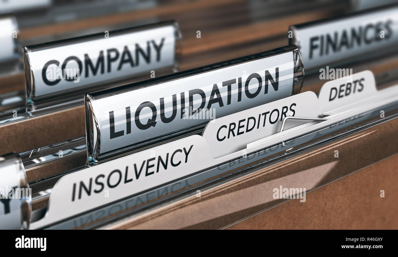 Company liquidation concept. File and tabs with the words insolvency, creditors and debts. 3D illustration - Stock Image