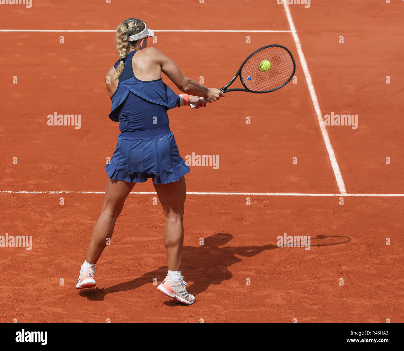 German tennis player Angelique Kerber  playing backhand shot at  the French Open 2018, Paris, France - Stock Image