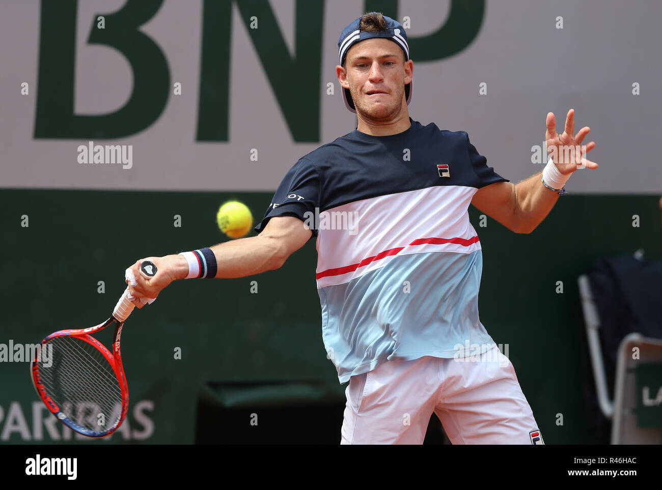 Argentinian Tennis Player Diego Schwartzman Playing Forehand Shot At The French Open 2018 Paris France Stock Photo Alamy