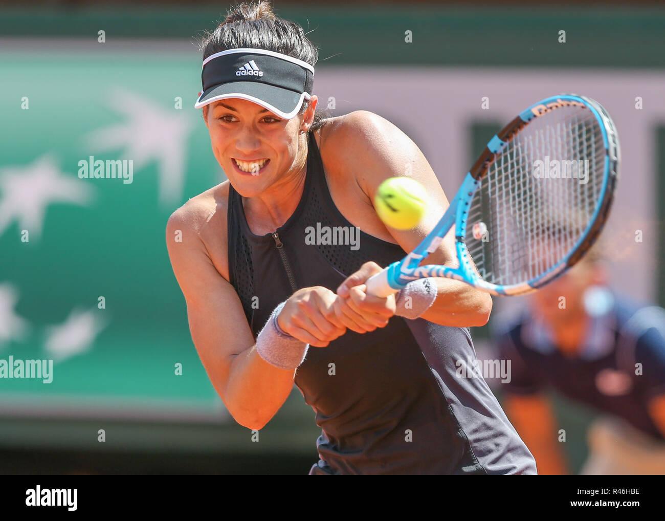 Spanish tennis player Garbine Muguruza playing backhand shot at the  French Open 2018, Paris, France - Stock Image
