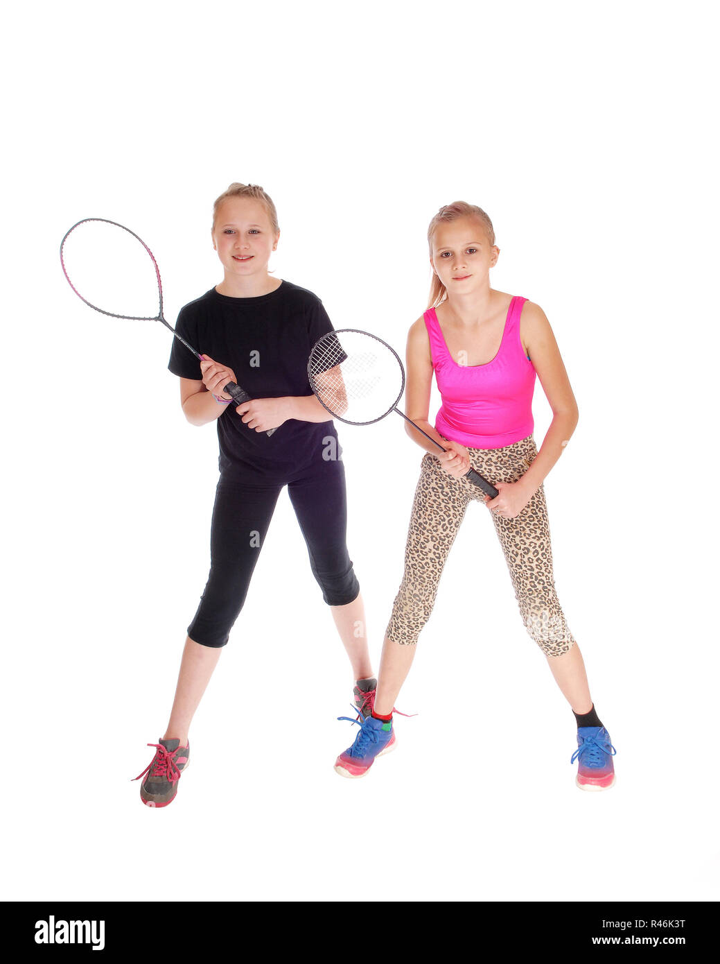Two girls with tennis racquet. - Stock Image