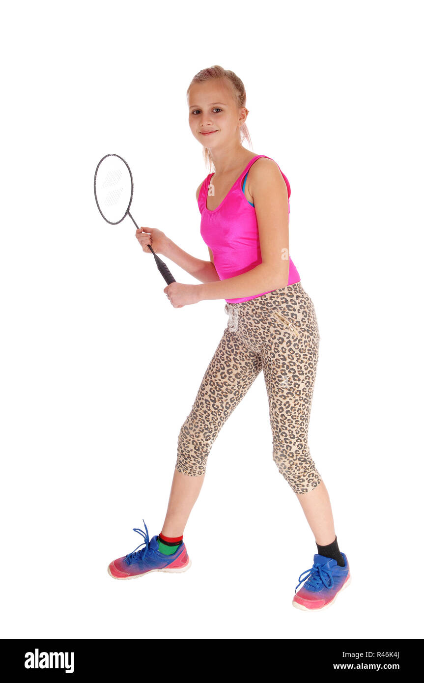 Lovely young girl with tennis racquet. - Stock Image