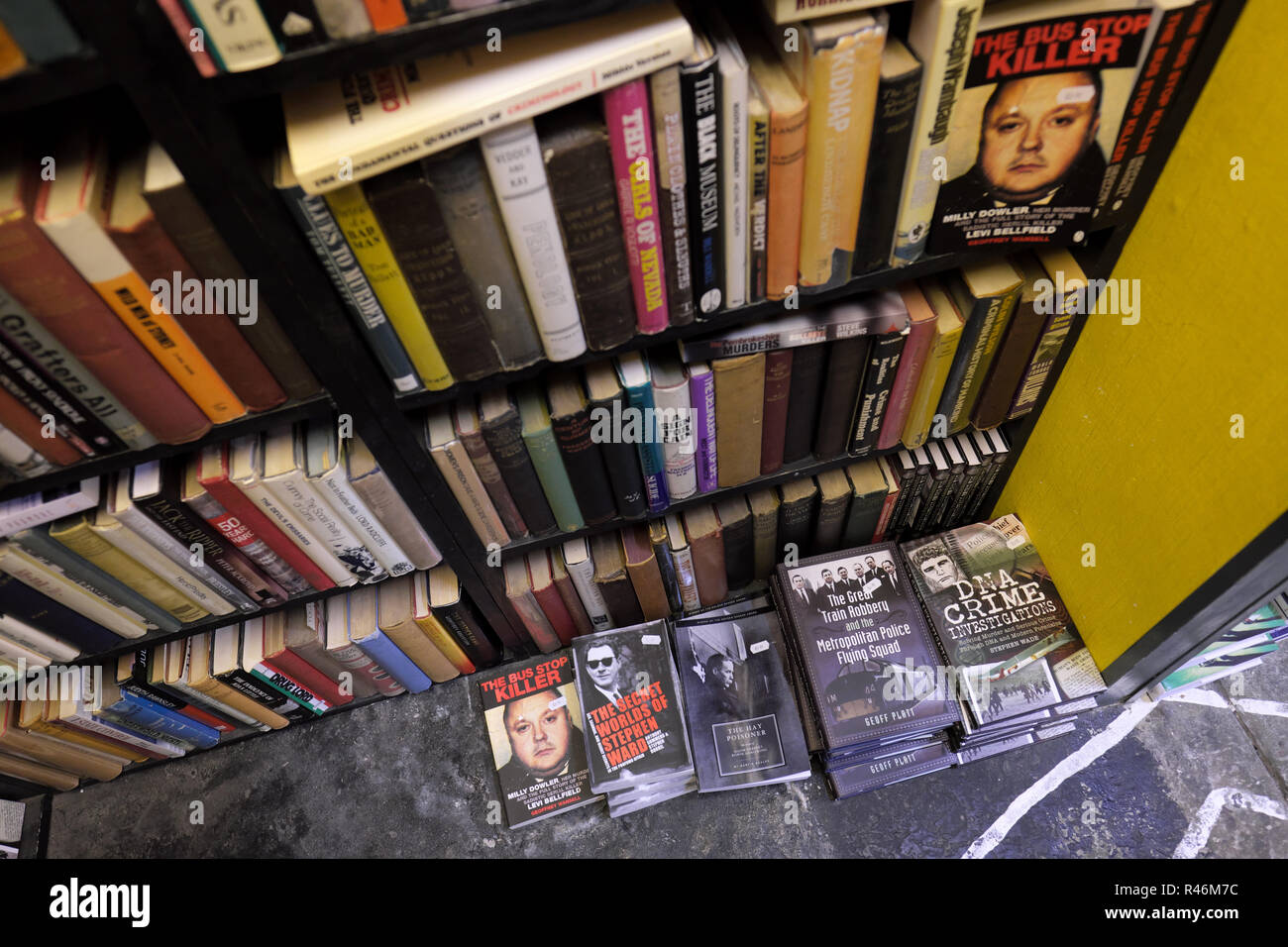 Hay on Wye, Wales, UK - Inside the Addyman bookshop which specialises in crime and thriller murder books Stock Photo
