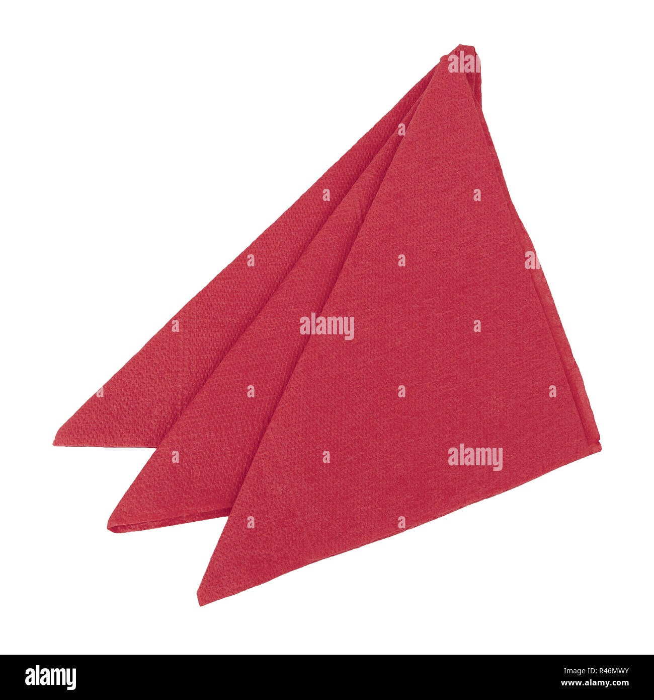 Three red paper napkins, serviettes folded to triangles and isolated on white background - Stock Image