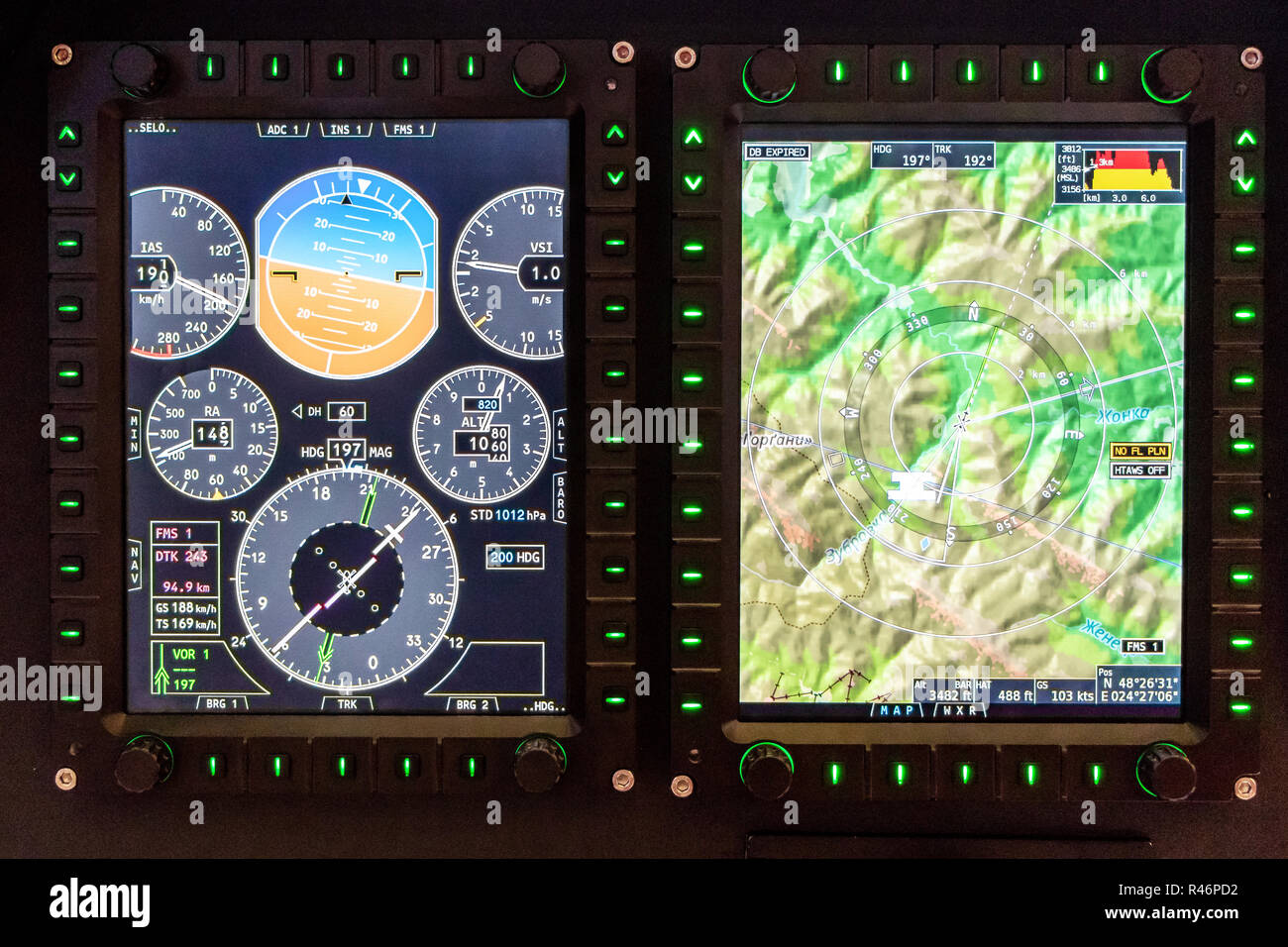 control panel and monitor dotelchikov small private aircraft - Stock Image