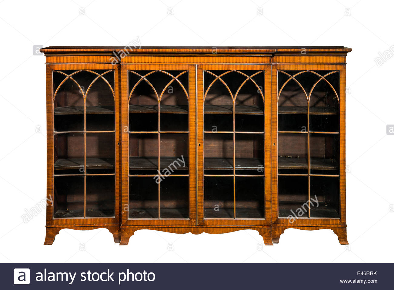bookcase cabinet antique vintage with glass doors isolated - Stock Image - Cabinet Bookcase Stock Photos & Cabinet Bookcase Stock Images - Alamy