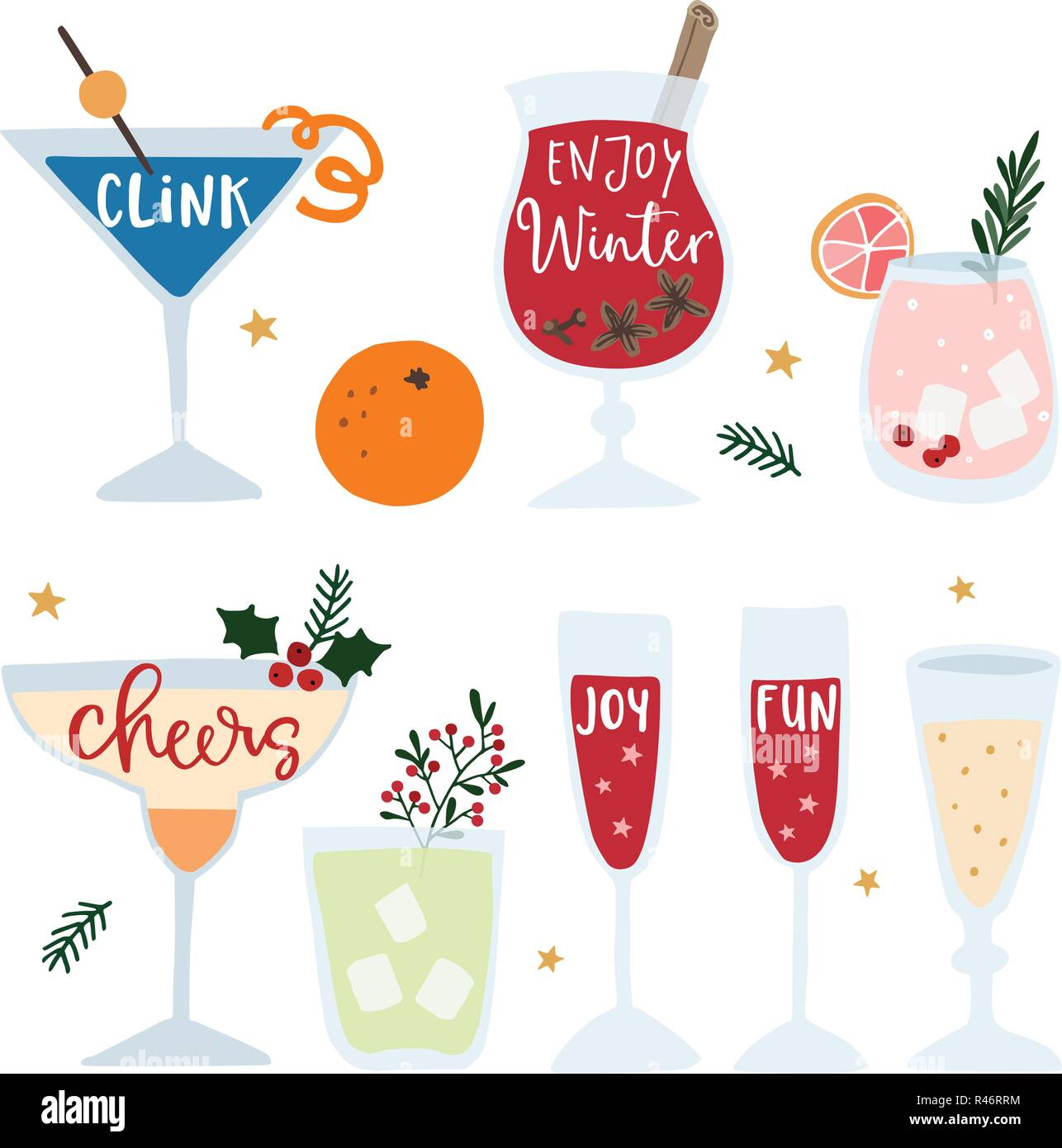 set of hand drawn alcoholic drinks cocktails with lettering quotes happy new year celebration concept isolated vector icons flat design