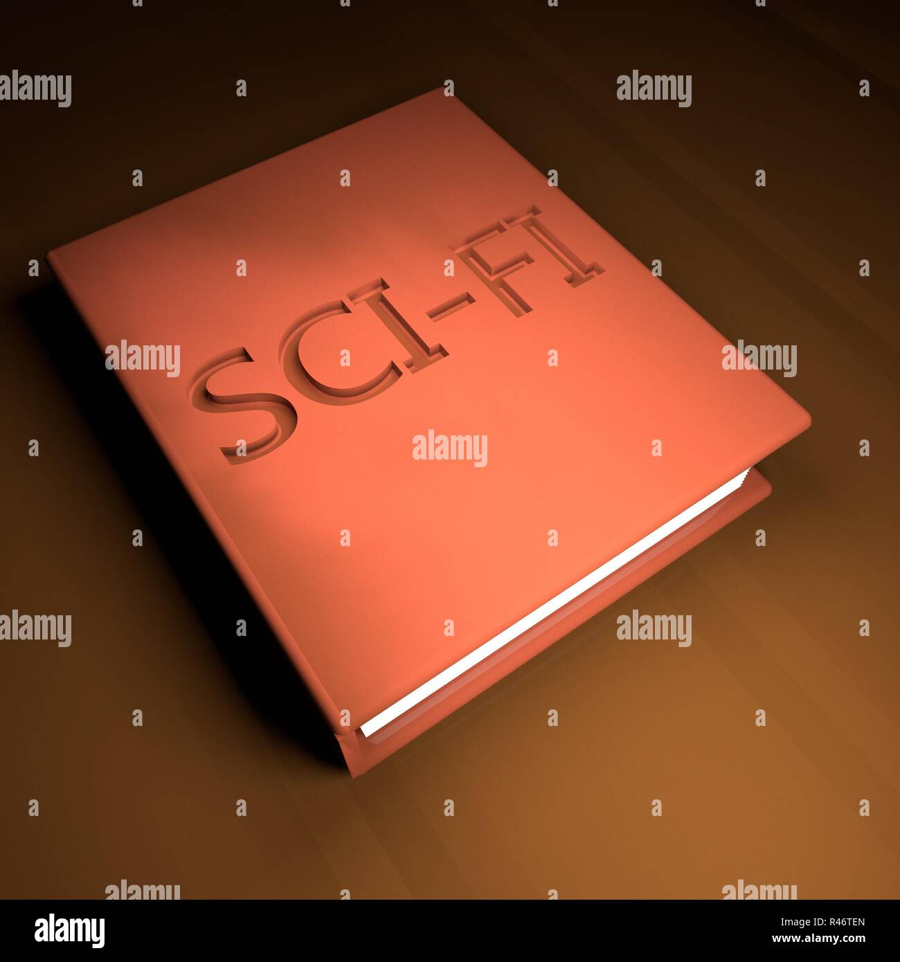 Sci-fi Book with leather cover - Stock Image