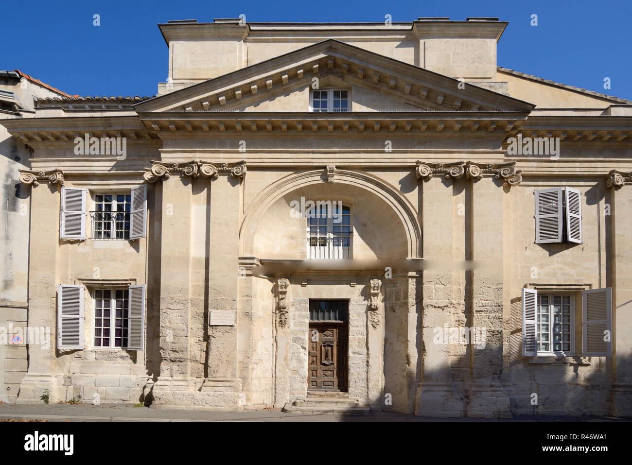 Classical Facade of Eglise des Minimes c16-18th, founded 1326, or Minimes Church, formerly Eglise Notre Dame des Miracles, Avignon Provence France - Stock Image