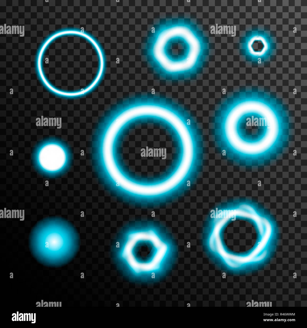 Glowing light burst circles on a plaid dark black background Stock Photo