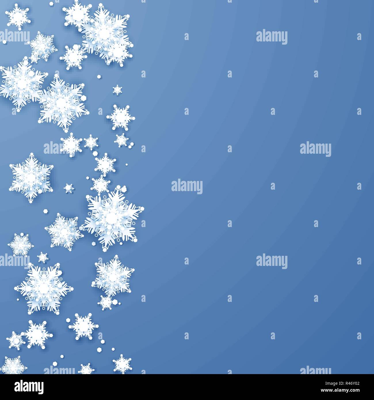 origami snowflakes border christmas and new year holiday decoration element vector illustration isolated on blue background