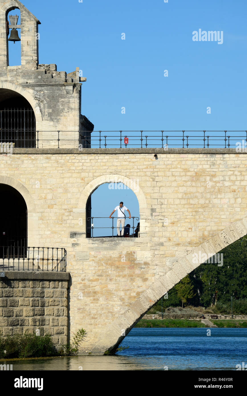Pont d'Avignon or Pont Saint-Bénézet Medieval Bridge over the Rhone River at Avignon Provence France - Stock Image