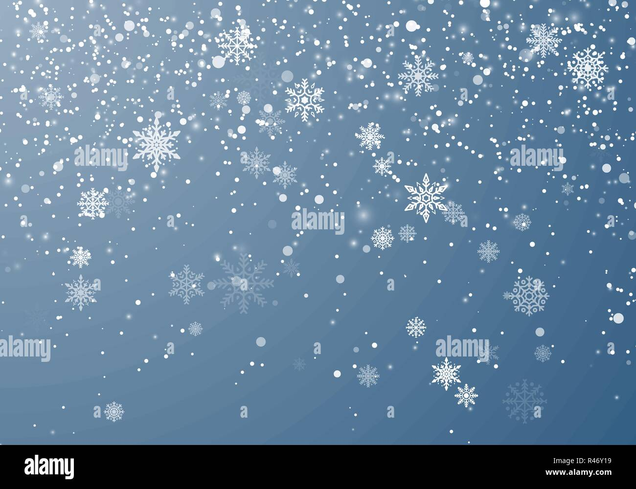 Snowfall Christmas background. Flying snow flakes and stars on winter sky background. Winter wite snowflake overlay template. Vector illustration - Stock Image