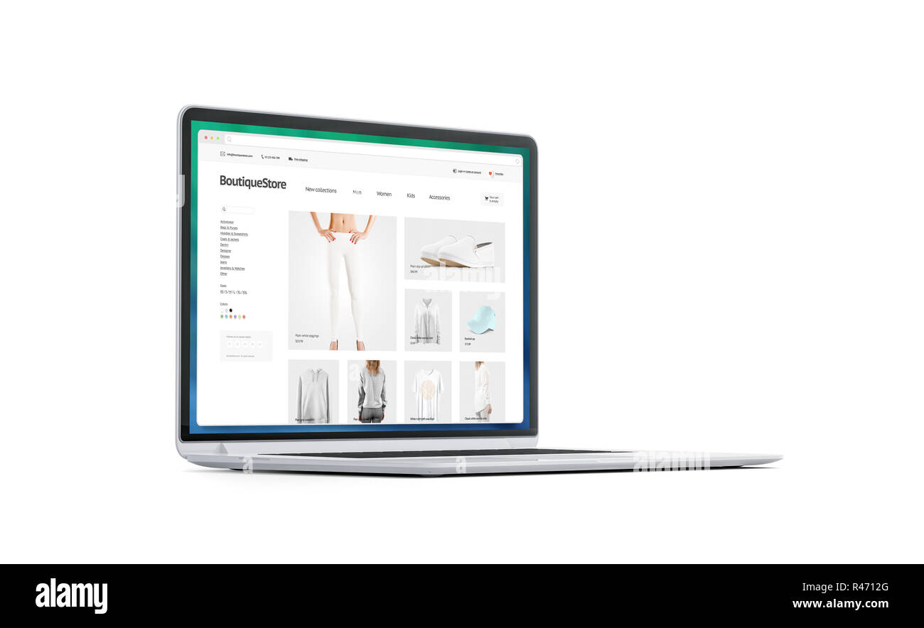 Blank white laptop screen with fashion store mockup, isolated, 3d rendering. Empty monitor with browser webpage mock up, side view. Clothing boutique interface in display template. - Stock Image
