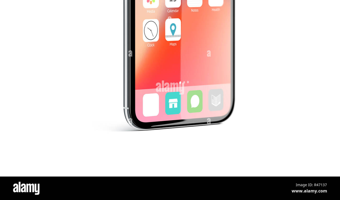 Blank white app icon on infiniboard phone screen mockup, 3d rendering. Empty infinidock with application on display mock up. Smartphone square button logo design. - Stock Image