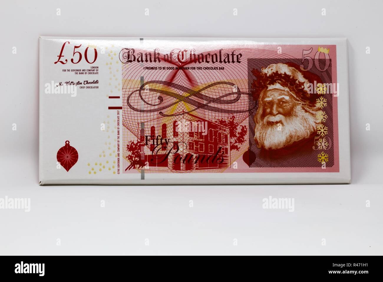 Fifty pound Bank of England Chocolate Bar - Stock Image