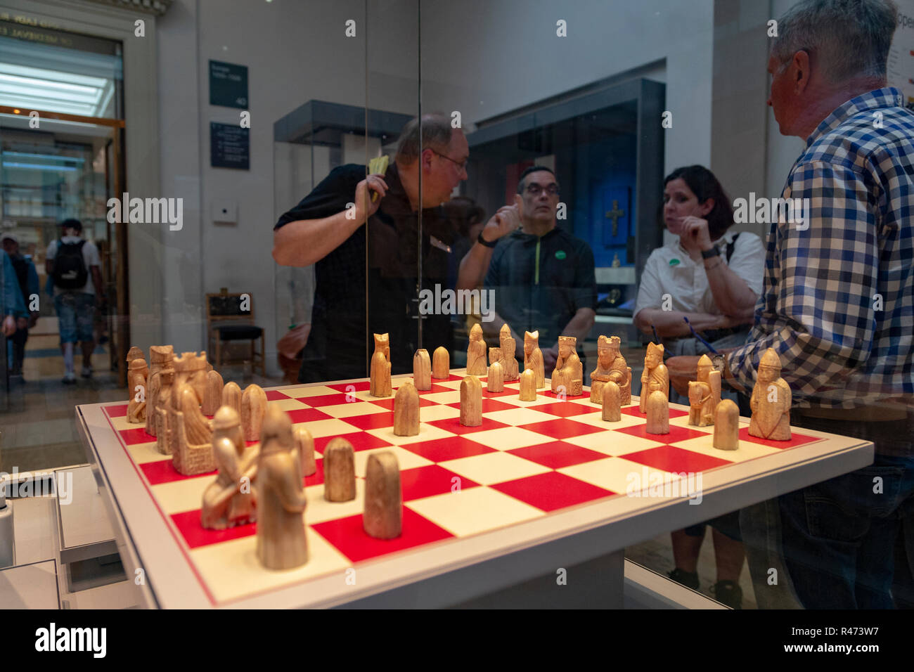 The 12thC Lewis Chessmen in the British Museum, London, England, UK - Stock Image