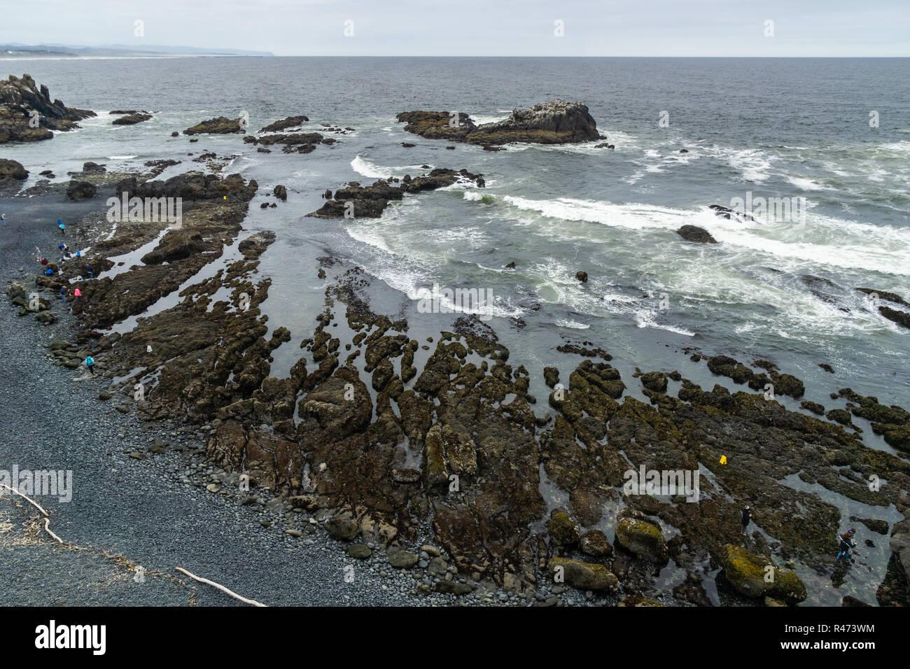 Cobble Beach overlook, Yaquina Head Outstanding Natural Area, Newport, Oregon Coast, USA. - Stock Image
