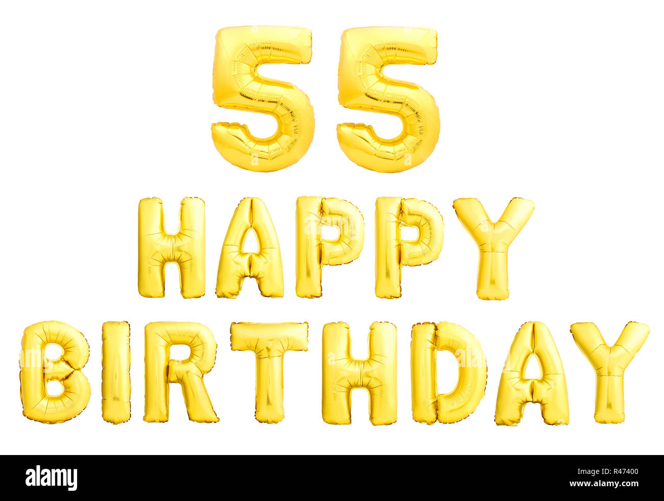 Happy Birthday 55 Years Golden Inflatable Balloons Isolated On White Background