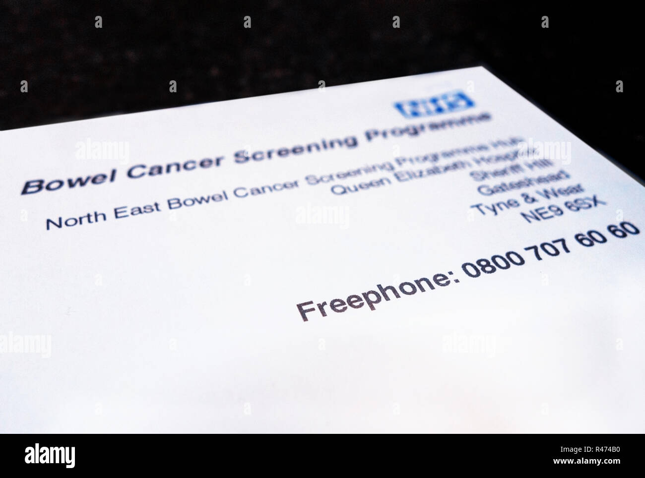 NHS Bowel Cancer Programme letterhead Stock Photo