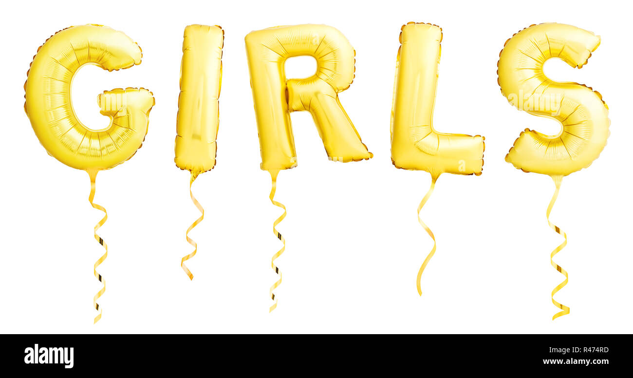 Word girls made of golden inflatable balloons with ribbons isolated on white background - Stock Image