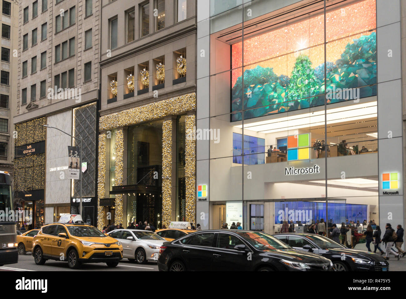 Fifth Avenue during holiday season, Midtown Manhattan, NYC, USA Stock Photo