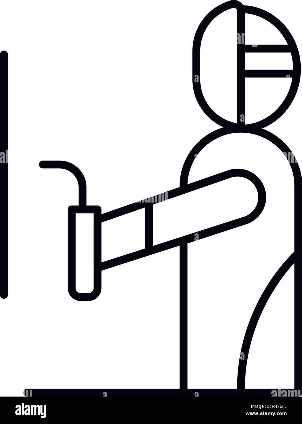 Welder man icon, outline style Stock Vector