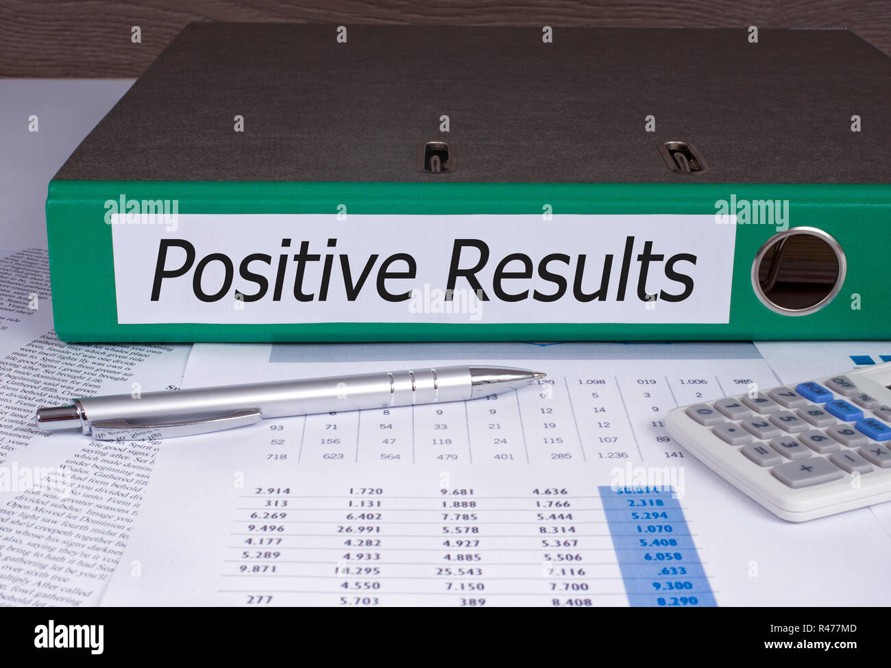 Positive Results Binder in the Office - Stock Image