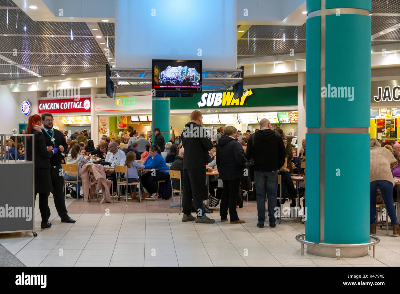 Food Court in the Lowry Outlet Mall at MediaCityUK Stock Photo
