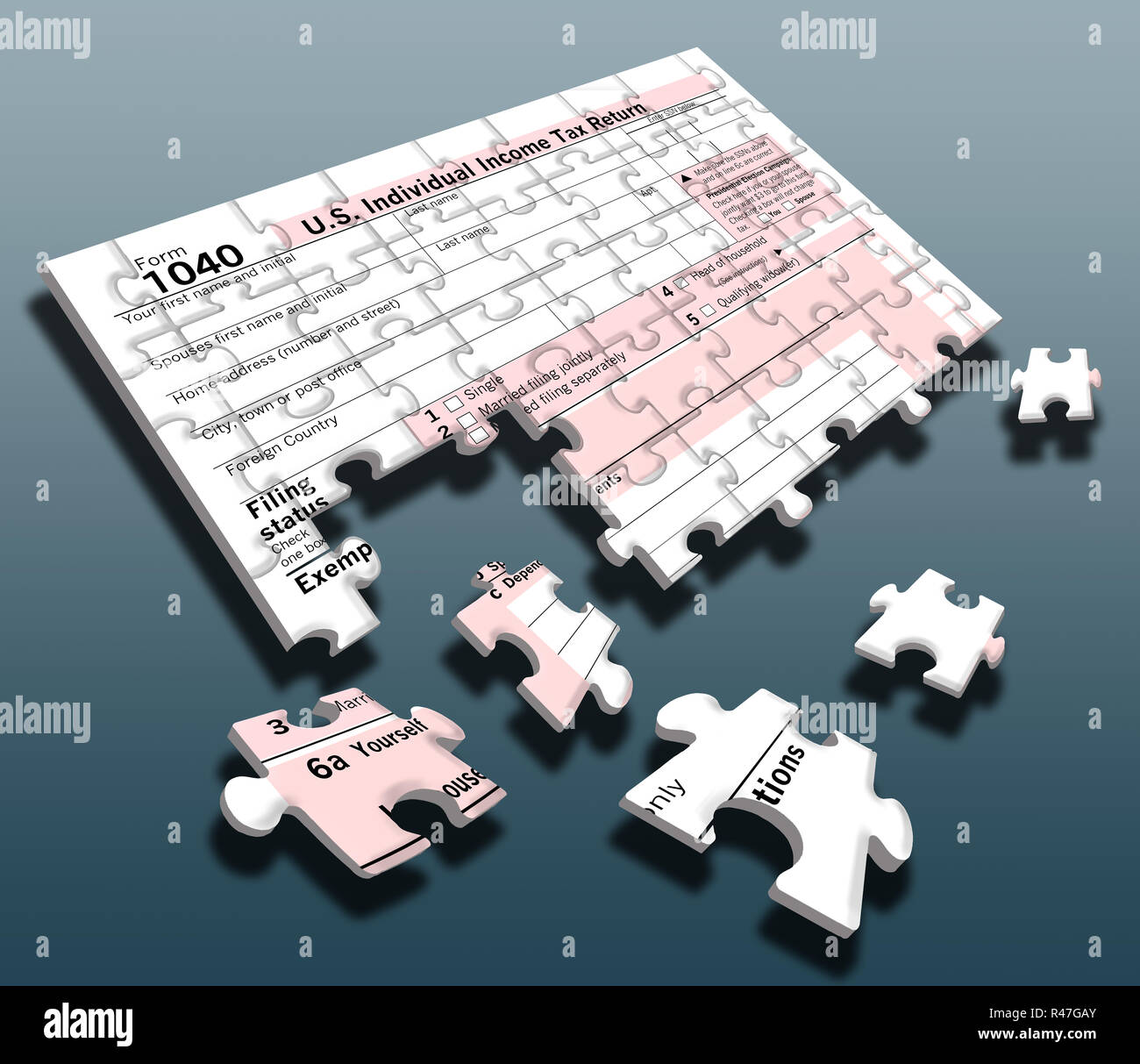 A federal tax form 8 made into a jigsaw puzzle ...