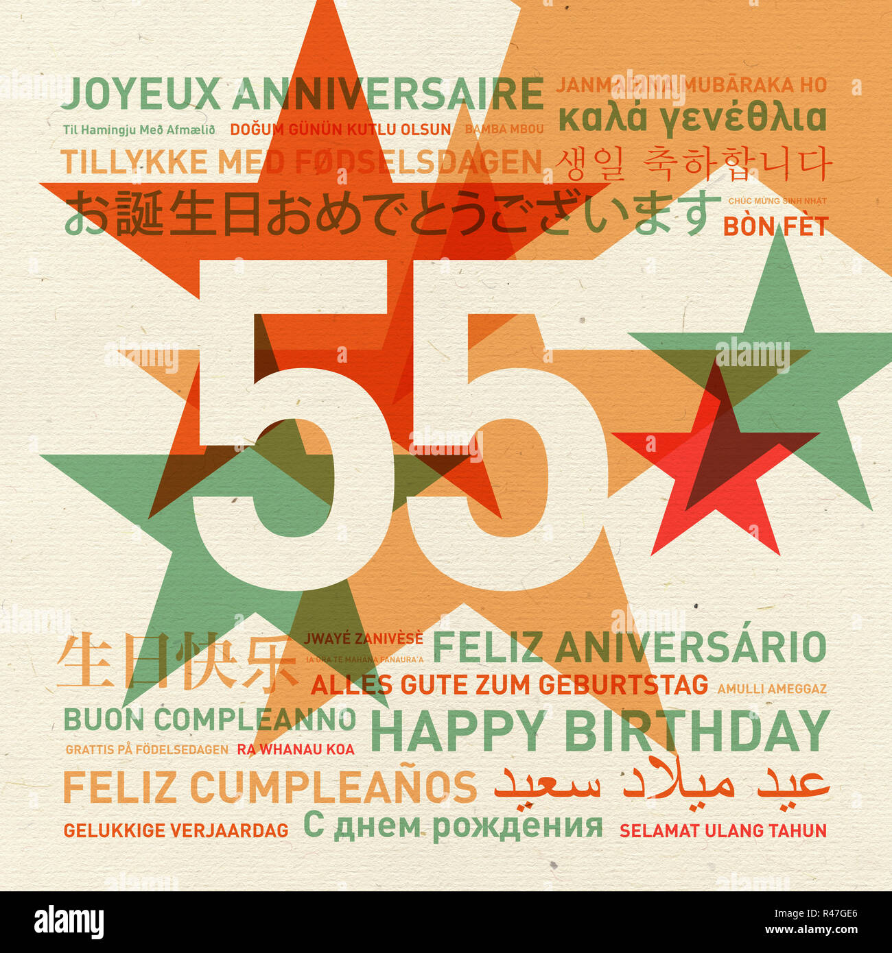 55th Anniversary Happy Birthday Card From The World