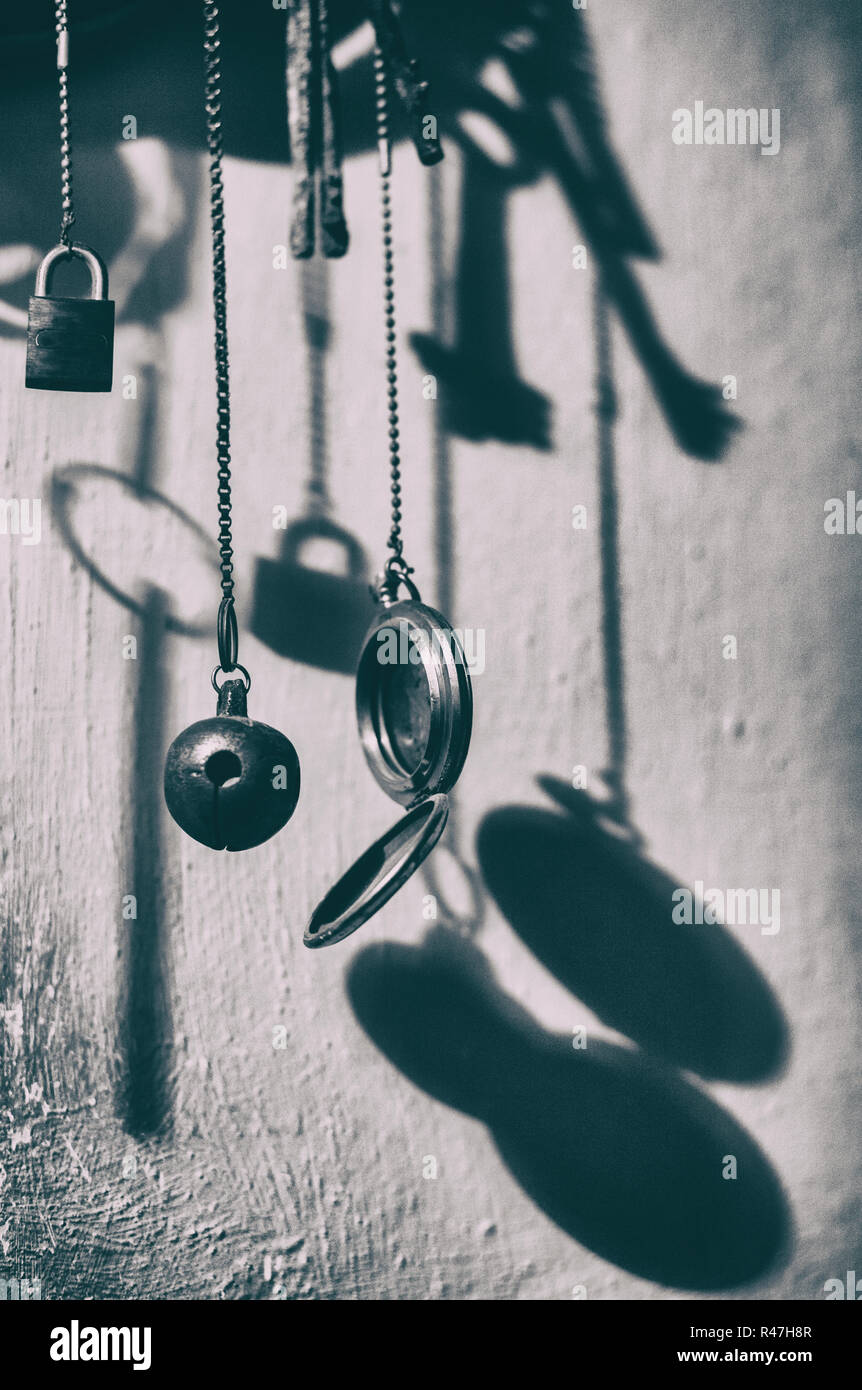 Wind-chime from old metal things. Vintage style Stock Photo