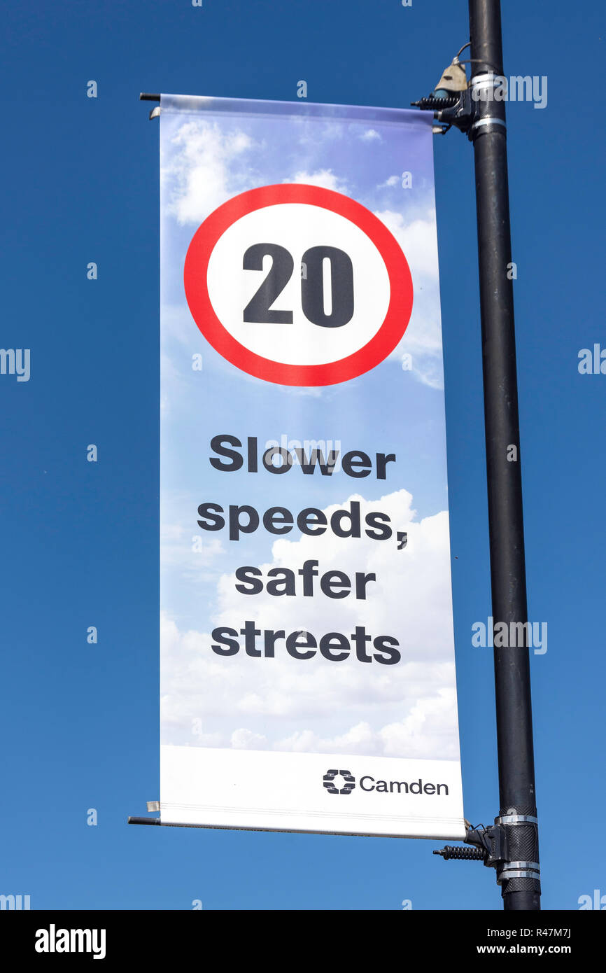 20mph safety banner, West End Lane, West Hampstead, London Borough of Camden, Greater London, England, United Kingdom - Stock Image
