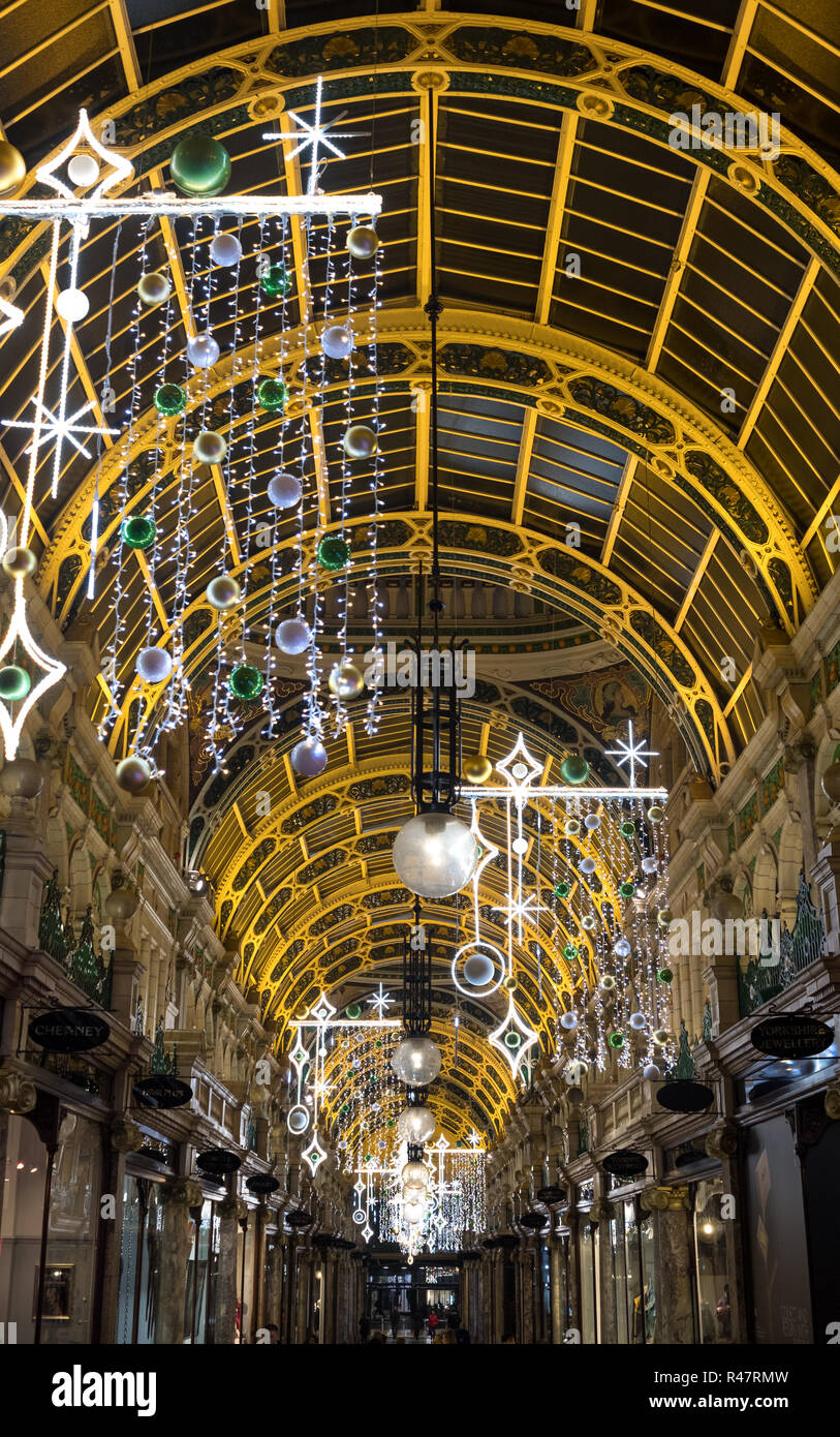 Leeds, UK. County Arcade in the Victoria Quarter, Leeds City Centre. The mall is decorated for Christmas. - Stock Image
