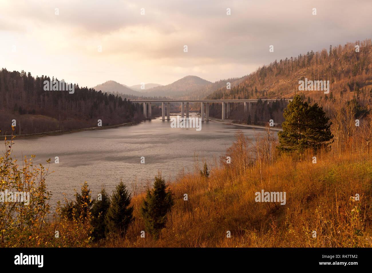 Panoramic view on bridge over the Bajer Lake in Fuzine, Gorski kotar, Croatia Stock Photo